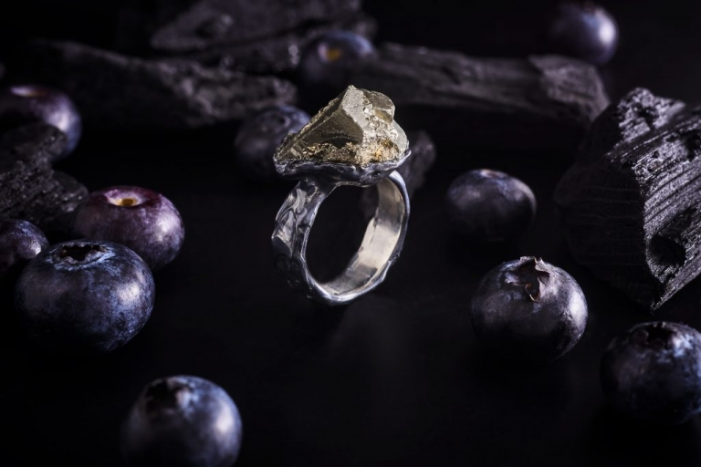 Growing Pyrite Cube Keep The Silence Jewellery Erika Kundavičiūtė